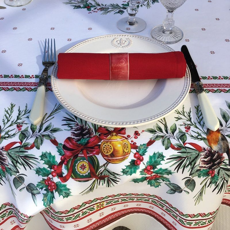 """Christmas rectangular coated cotton tablecloth """"Sylvestre"""" white and red"""