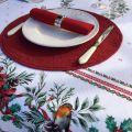 """Nappe de fêtes rectangulaire en coton enduit """"Sylvestre"""" blanche et rouge"""