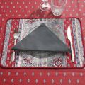 Serviette de table en coton uni gris anthracite