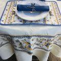 """Square damask Jacquard tablecloth Delft ecru, bordure """"Moustiers"""" blue"""