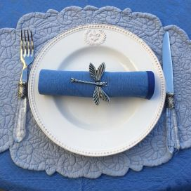 "Lot de 10 serviette de table damassée ""Cigales et Olives ""bleue"