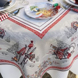 "Rectangular Jacquard tablecloth ""Savoie"" grey and red, Tissus Toselli"