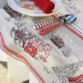 """Rectangular Jacquard tablecloth """"Savoie"""" grey and red, Tissus Toselli"""