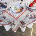 """Nappe rectangulaire Jacquard """"Savoie"""" grise et rouge Tissus Tosseli"""