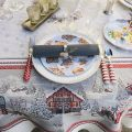 "Square Jacquard tablecloth ""Savoie"" grey and red, Tissus Toselli"