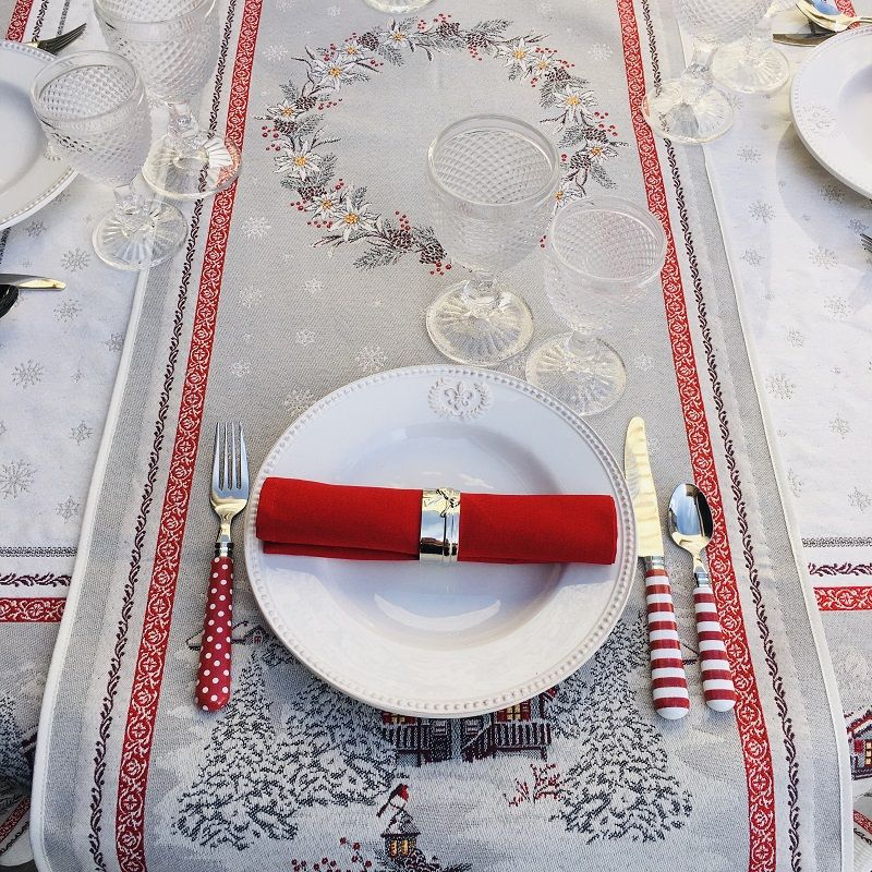 """Chemin de table en Jacquard """"Savoie"""" gris et rouge Tissus Tosseli"""