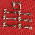 "Box of 6 silvery metal  knife setting ""Cat"""