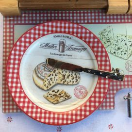 """Set 4 porcelain cheese plates """"Maître Fromager"""""""