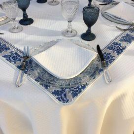 "Roud jacquard damask tablecloth ""Croisillons"" ecru"
