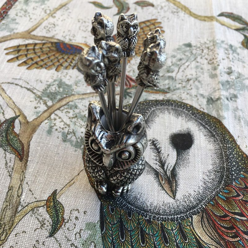 "Set of appetizer pics, silvery metal ""Owl"""