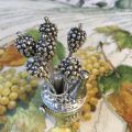 "Set of appetizer pics, silvery metal ""Grapes"""