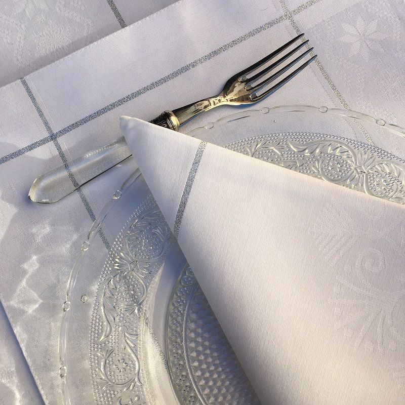 """Serviette de table Sud Etoffe """"Natif"""" blanc et argent"""