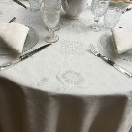 "Jacquard round tablecloth, cotton and polyester ""Delft"" Off-White"