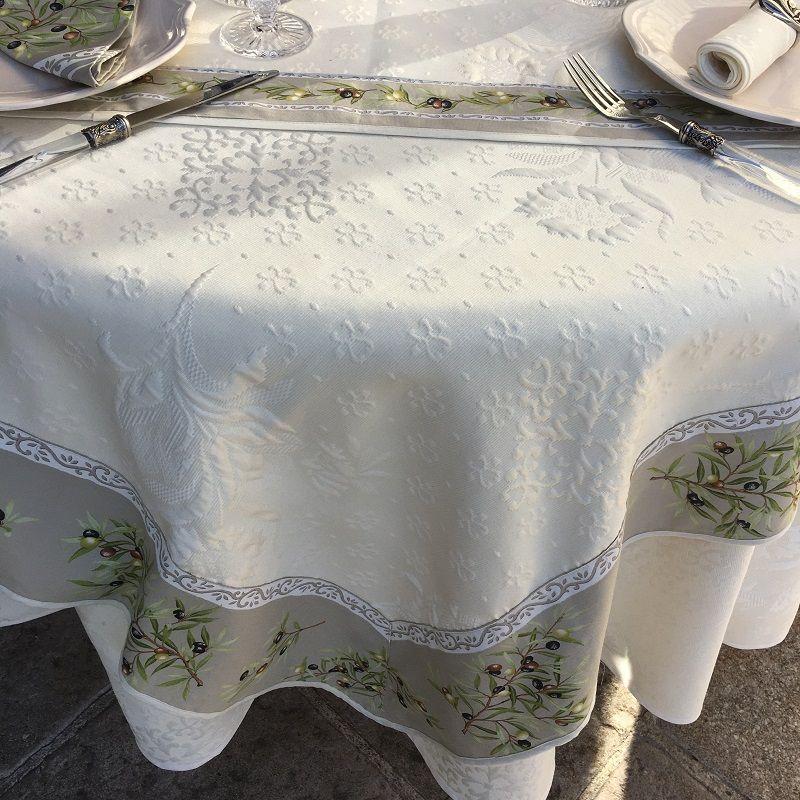 "Rectangular damask Jacquard tablecloth Delft, bordure ""Clos des Oliviers"" linen color"