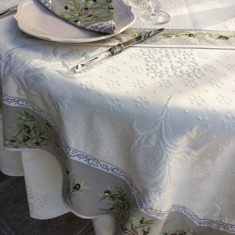 "Square Jacquard tablecloth Delft, bordure ""Clos des Oliviers"" linen color"