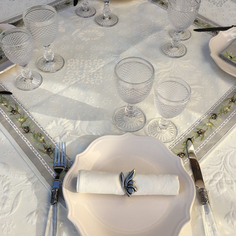 """Jacquard table runner ou square table mats, Delft, bordure """"Clos des Oliviers"""" linen color"""