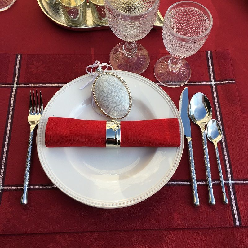 "Cutlery Set (48 pieces) ""Contemporain"" hammered stainless still"