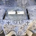 "Square webbed Jacquard tablecloth ""Mosaïque"" grey by Tissages du Soleil"