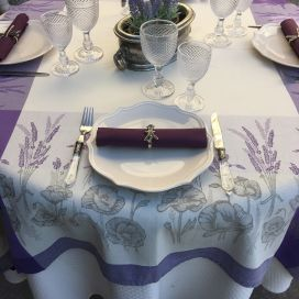 "Rectangular webbed Jacquard tablecloth Puppies"" lavender color by Tissages du Soleil"