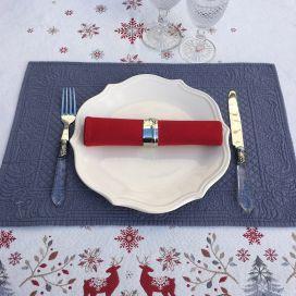 """Set de table en boutis """"Calliope"""" gris bleu, Sud-Etoffe"""