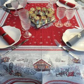 "Rectangular Jacquard tablecloth ""Savoie"" red, Tissus Toselli"