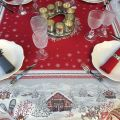"""Square Jacquard tablecloth """"Savoie"""" red, Tissus Toselli"""