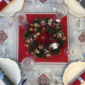 """Carré de table en Jacquard """"Savoie"""" rouge et gris"""