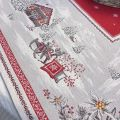 "Webbed square table mat ""Savoie"" red and grey"