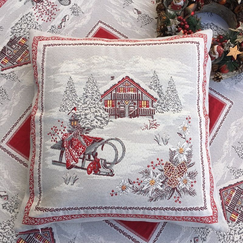 """jacquard cushion cover """"Savoie"""" grey and red Tissus Tosseli"""