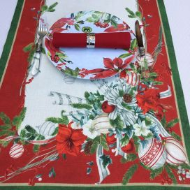 "Tessitura Toscana Telerie, linen table runner ""La Table au Noël"""