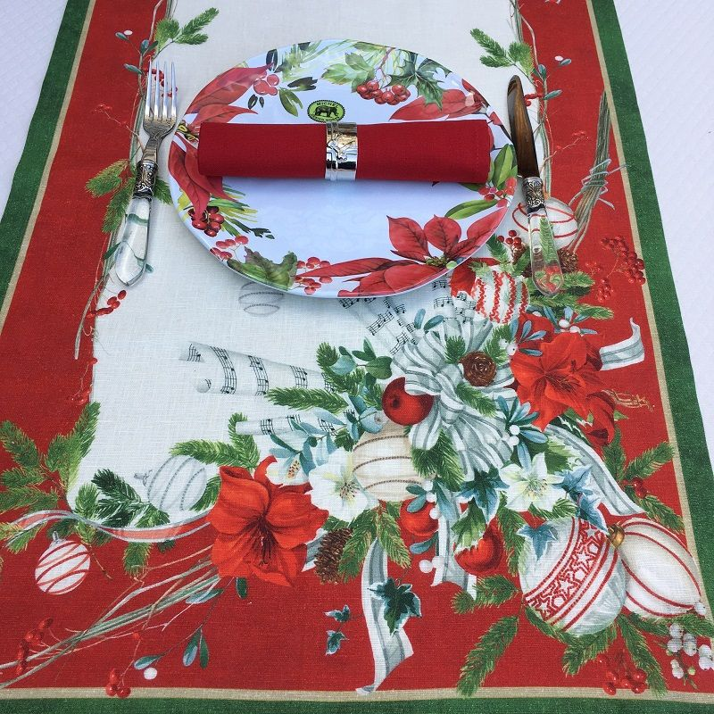 "Tessitura Toscana Telerie, linen table runner ""La Table au Noël"""