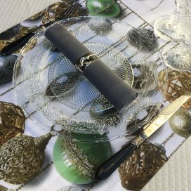 "Chemin de table en lin ""Glitter"" Tessitura Toscana Telerie"