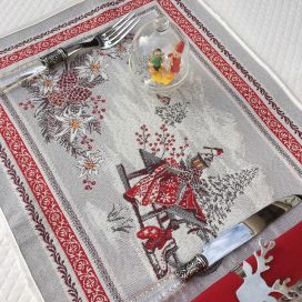 "Provence Jacquard placemat,""Savoie"" grey and red from Tissus Toselli in Nice"