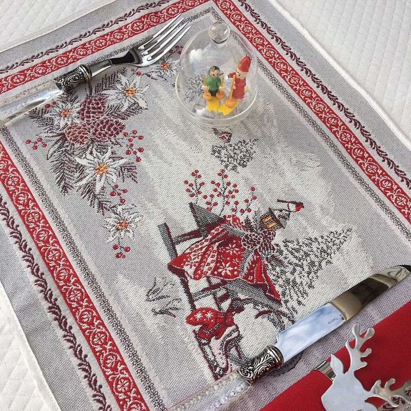 """Set de table Jacquard """"Savoie"""" gris et rouge Tissus Toselli, Nice"""