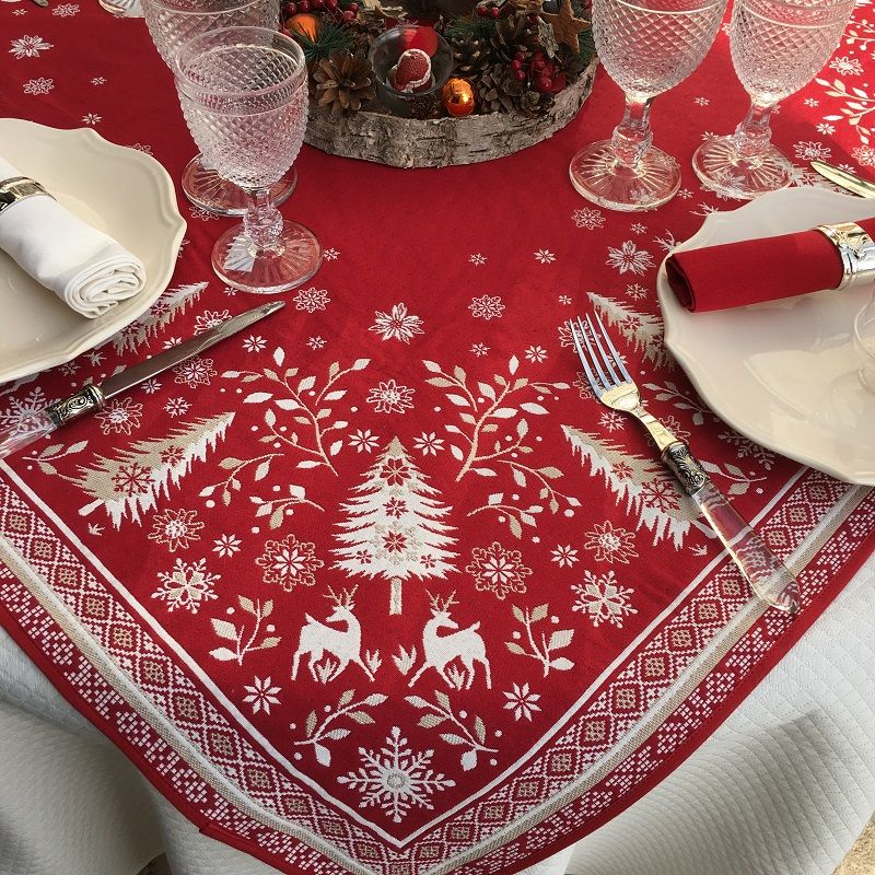 "Webbed square table mat ""Vallée"" red and ecru"