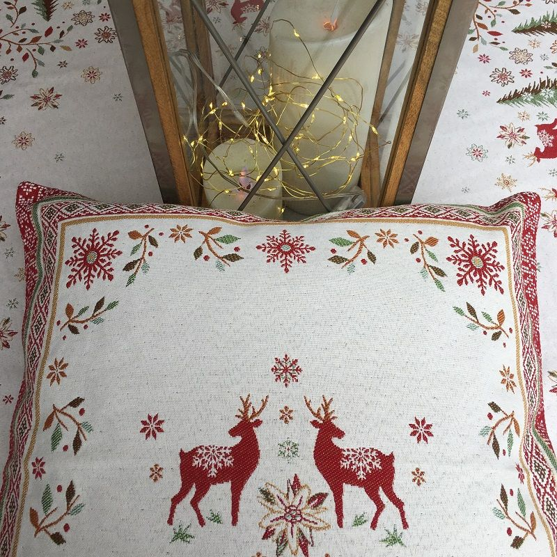 """jacquard cushion cover """"Vallée"""" green and red Tissus Tosseli"""
