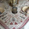"""Carré de table en Jacquard """"Vallée"""" rouge et gris"""