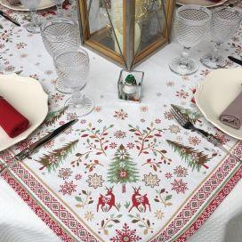 """Carré de table en Jacquard """"Vallée"""" rouge et vert"""