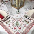 "Webbed square table mat ""Vallée"" red and green"
