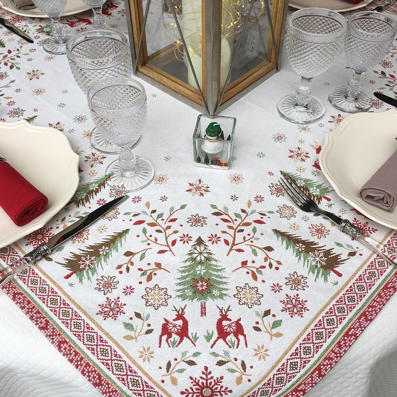 """Webbed square table mat """"Vallée"""" red and green"""