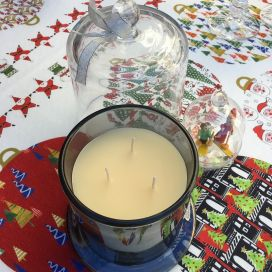 Candle under glass bell, sivery base, GM