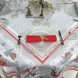"Rectangular christmas tablecloth in cotton ""Savoie"" grey and red"