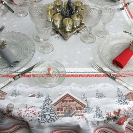 "Christmas rectangular coated cotton tablecloth ""Savoie"" grise et rouge"