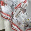 "Christmas rectangular coated cotton tablecloth ""Savoie"" grise et rouge"