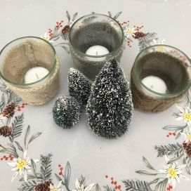 Set of 3 candle holder glas and wool