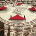 "Coated cotton round tablecloth ""Avignon"" Off-White and red by ""Marat d'Avignon"""