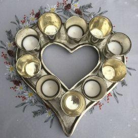 Photophore argenté coeur, 10 luminions verre chromé