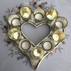 Silver Heart, 10 chrome glass candle holder