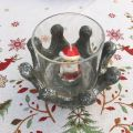 Crown candle holder, terracotta and glass