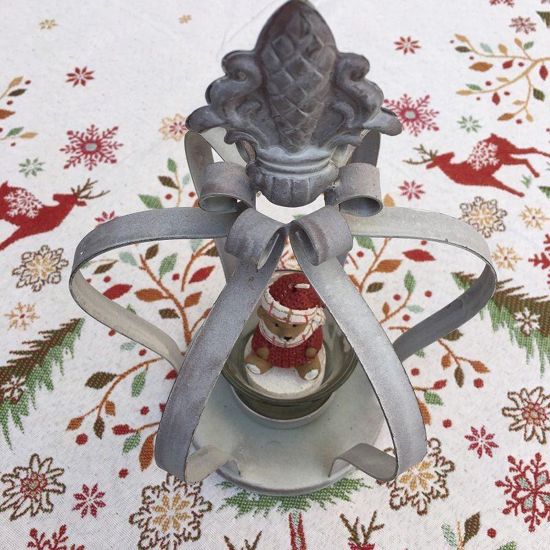 Grey metal crown and fleur de Lys candel holder